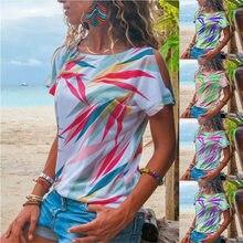 Off Shoulder Fashion Women Summer T-shirts Short Sleeve Leaves Print Women Shirt Plus Size Summer Boho Tops Thin Tops S-3XL