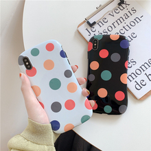 Literary colorful wave point Apple mobile phone case for iphone X XR XS MAX 6 6S 7 8 PLUS anti-fall creative protective cover