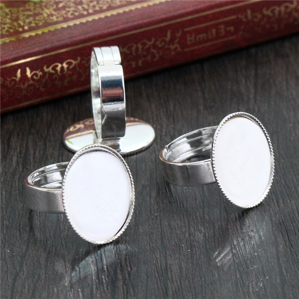13x18mm 10pcs Bright Silver Plated Color Brass Oval Adjustable Ring Settings Blank/Base,Fit 13x18mm Glass Cabochons K6-07