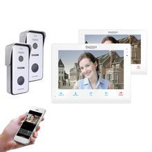 TMEZON ワイヤレス/Wifi スマート IP ビデオドアベルインターホンシステム、 10 インチ + 7 インチ画面モニターと 2 × 720 720p 有線ドア電話カメラ