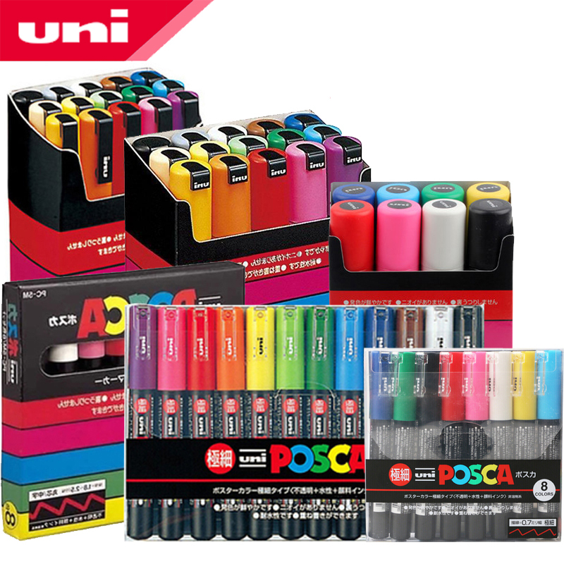UNI POSCA Marqueur Stylo Ensemble POP Publicité Affiche Graffiti Note Stylo Couleur Brillant Multicolore Stylo PC-1M PC-3M PC-5M