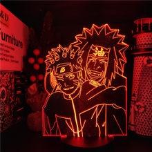 Uzumaki naruto jiraiya anime lâmpada 3d led nightlights cores mudando naruto 3d iluminação visual para o presente de natal