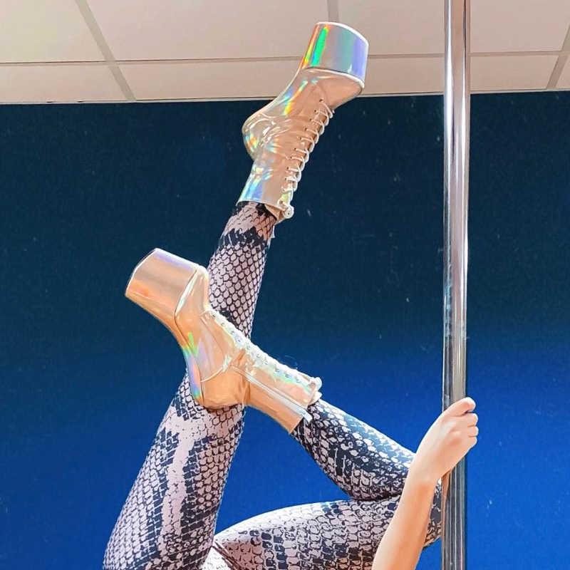 Laço holográfico até botas de tornozelo plataforma stripper clube de dança exótica saltos altos