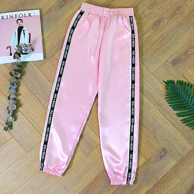 2019 Women Pants Trousers Pant Summer Pantalones Mujer Glossy Sporting Joggers Ribbon Trouser Satin Fashion Harajuku Loose Pant