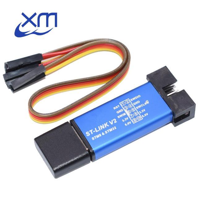 10PCS ST LINK Stlink ST קישור V2 מיני STM8 STM32 הורדת סימולטור מתכנת תכנות עם כיסוי A41 אקראי צבעים