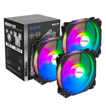 ALSEYE Max Series, ventilador de refrigeración de 120mm, conjunto de 3 uds., iluminación RGB ajustable, 4 pines PWM + 3 pines RGB, compatible con Aura/RGB FUSION