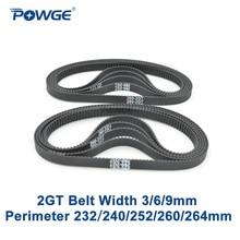 POWGE 10 шт. GT2 синхронный резиновый ремень длина 232 240 252 260 264 Ширина 3/6/9 мм зубов 116 120 126 130 132 петли 2GT синхронный ремень