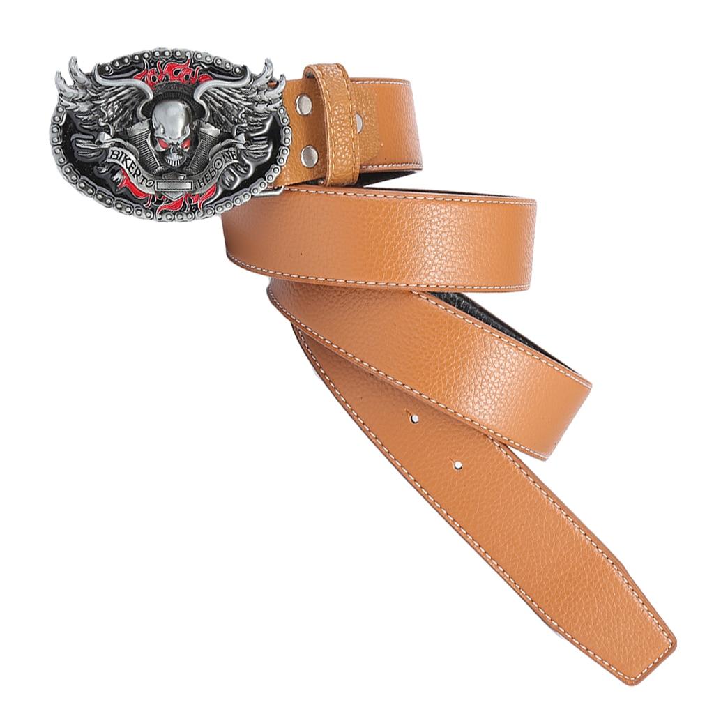 Gothic Belt Buckle 120cm Retro Style Men Cowboy Leather Belt Hip Hop Men's Leather Belt Eagle Totem Pattern Western Style Belts