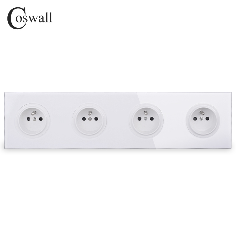 Coswall Crystal Tempered Pure Glass Panel 16A 4 Gang French Standard Wall Power Socket Grounded With Child Protective Lock