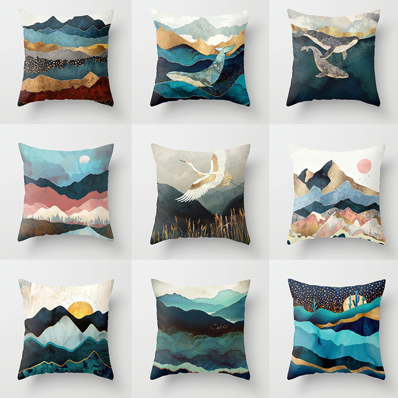 Geometric Mountain Peaks Sun Whale Creative Cushion Cover Landscape Office Living Room Covers Decoration Home Decor 45x45cm