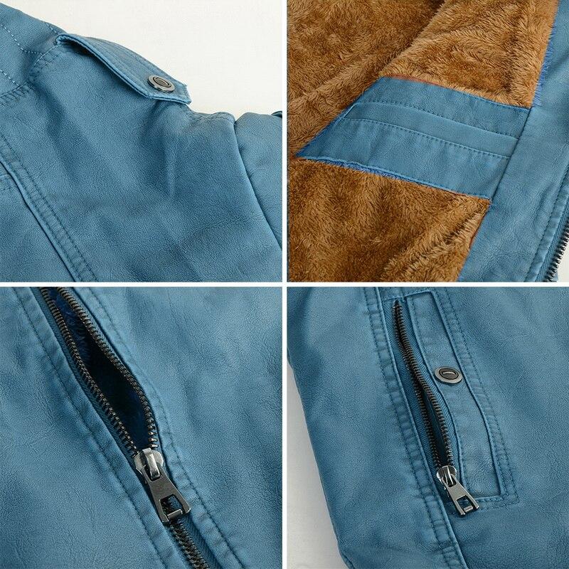 Hcdf66f4a89cc47119f0f7ea96f43d877w Luxury 2019 Leather Jackets Men Autumn Fleece Zipper Chaqueta Cuero Hombre Pockets Moto Jaqueta Masculino Couro Slim Warm Coat