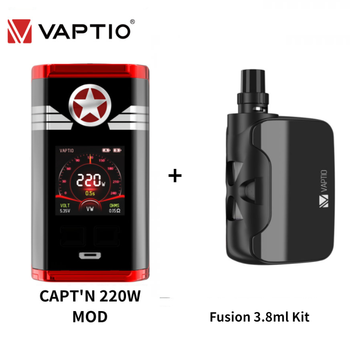 Original Vaptio CAPT'N 220W VAPE Box Mod With Fusion 3.8ml Kit Vaporizer For 510 Thread 18650 E Cigarette Support RTA RDA RDTA vaptio capt n mod 220w 510 box mod with gift fusion e vape kit dual 18650 battery box mod electronic cigarette fusion core head