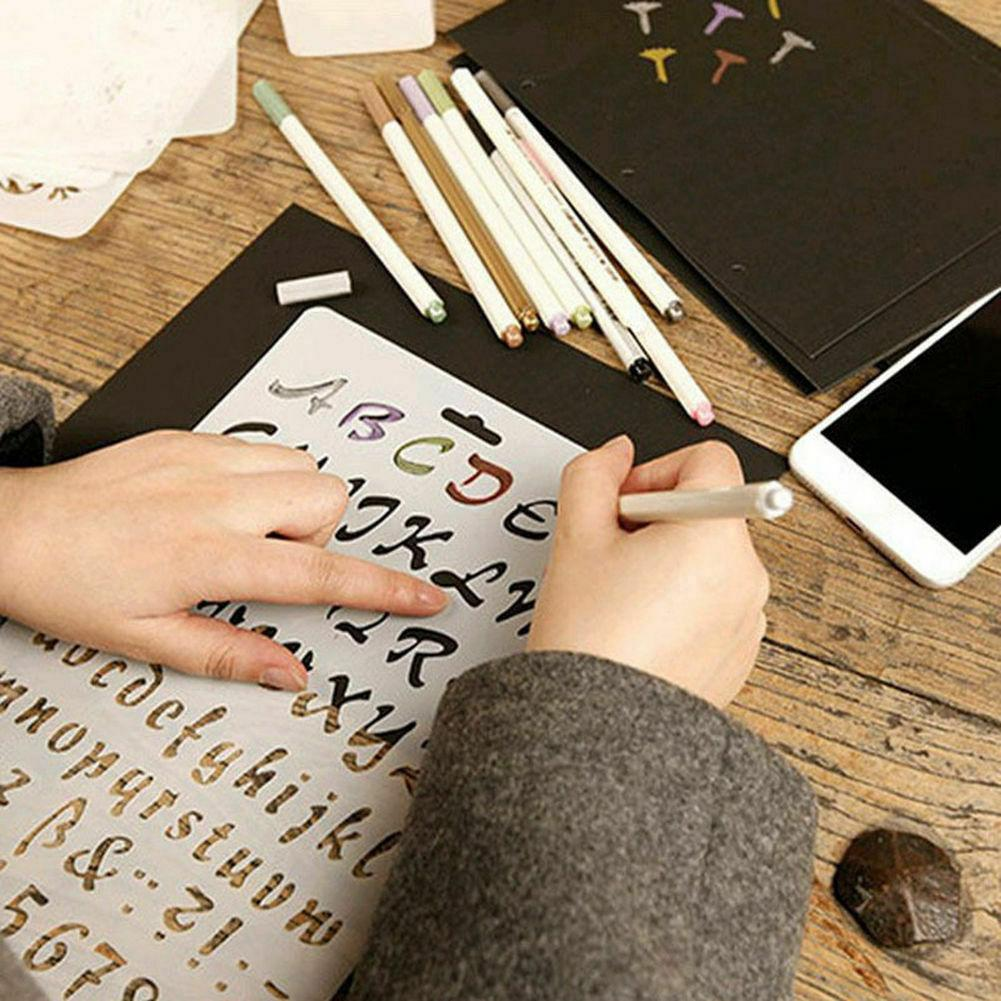 English Alphabet Number DIY Scrapbook Drawing Template Measuring Ruler Stencil Made Of Plastic With Smooth Inking Edge, Durable