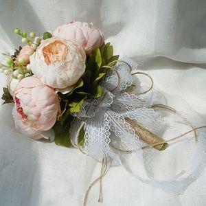 Image 5 - Retro rustik tarzı gelin gelinlik buketleri yapay şakayık sahte gül düğün tutan çiçek uzun kurdele bağı parti dekorasyon