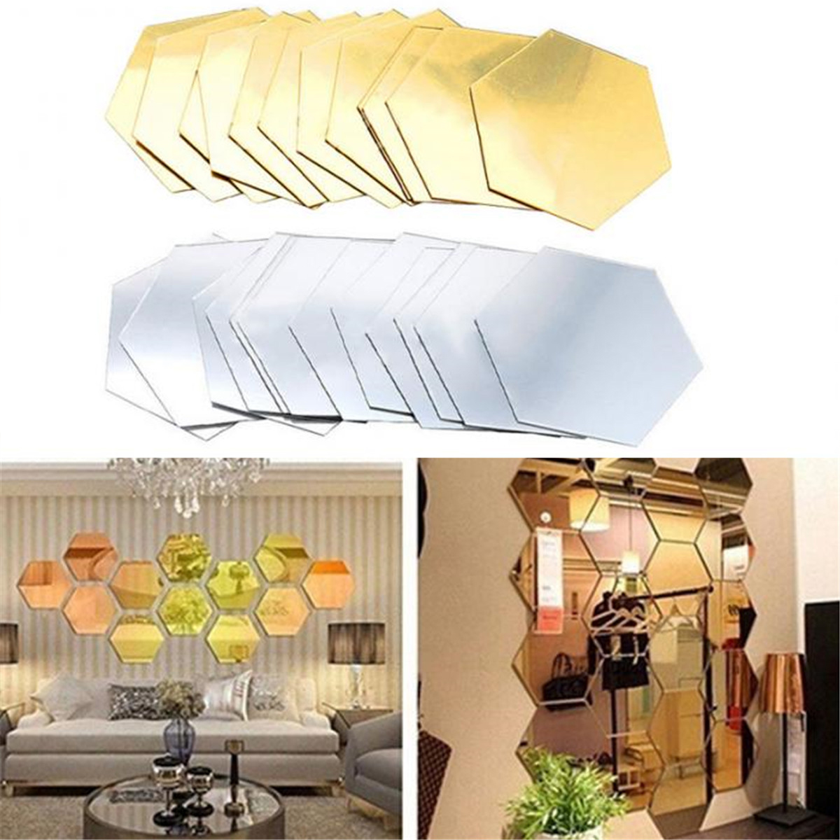 12Pcs 3D Mirror Hexagon Decorations DIY Removable Living-Room Wall Sticker Decal Art Ornaments For Home