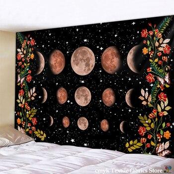 Tapiz psicodélico, decoración de pared de flores, sala de colgar, alfombra del cielo estrellado, tapices de Luna, decoración artística para el hogar, Accesorios