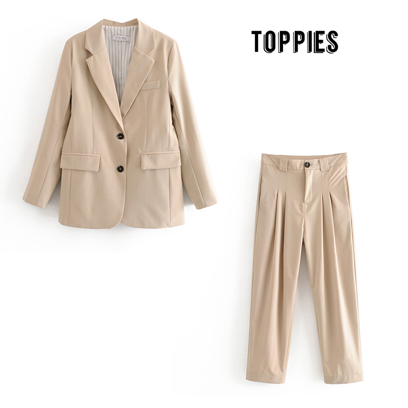 Women's Pants Suits Ladies Blazer High Waist Pants Two Pices Set 2020 Office Leisure Suit Sets