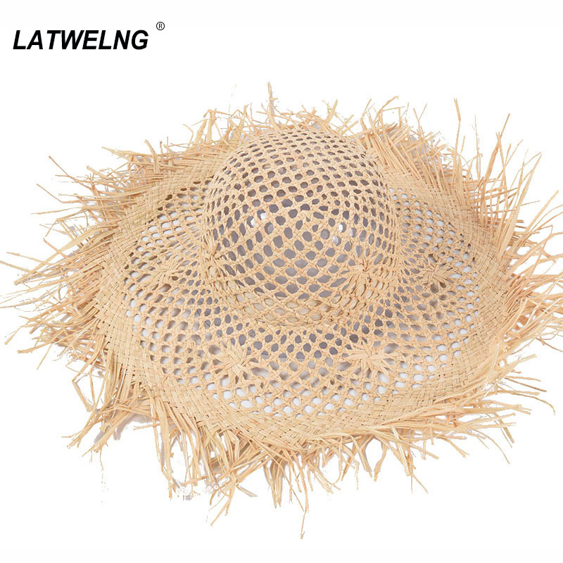 2020 Ins Hand-woven Hollow Raffia Hat Female Wide Brim Beach Hats UV Protection Girlfriend Holiday Gift S1096