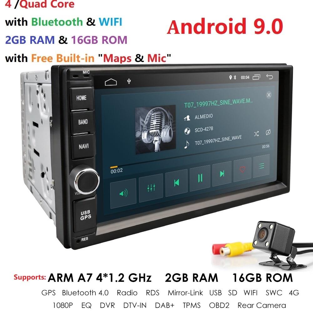 2019 Android 9.0 2DIN voiture universelle sans lecteur DVD Auto Radio Quad Core 7 pouces GPS stéréo Audio unité de tête prise en charge DAB DVR OBD BT