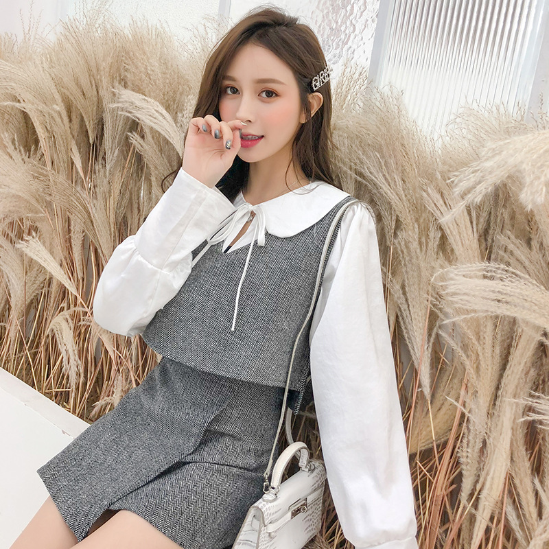 Goddess Western Style Short-height High Waist Skirt Set Casual Slimming By Age WOMEN'S Suit Three-piece Set Hong Kong Flavor