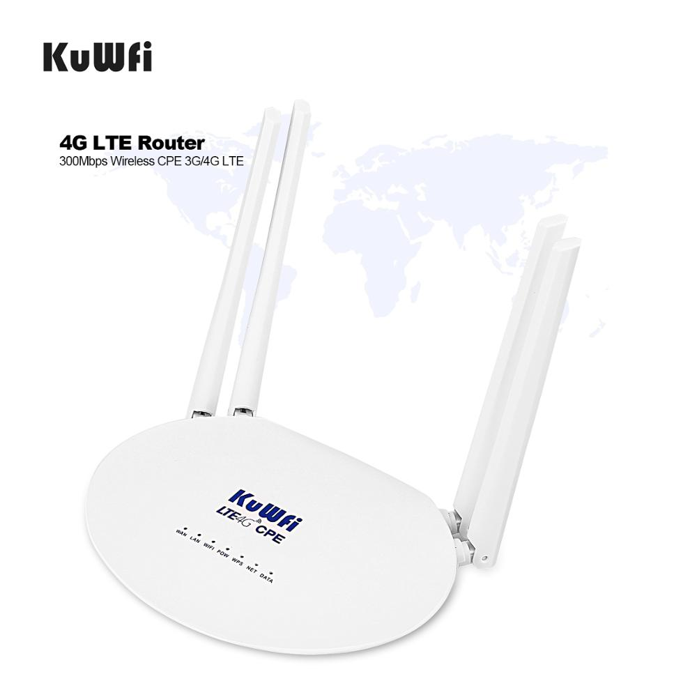 KuWFi 300Mbps 4G LTE CPE Wifi Router With Sim Card Slot, 3G4G Wireless Router With 4Pcs External Antenna Up 32Users 4G Router