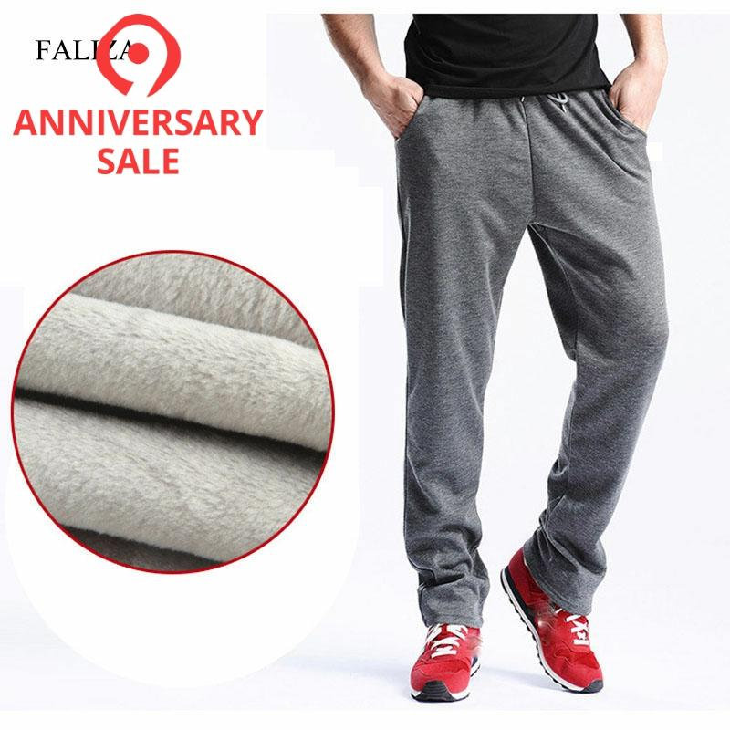 FALIZA 2019 New Men's Winter Pants Thick Fleece Jogger Straight Mens Pants Mirco Velvet Sweatpants Men Joggers Casual Pants CK-D