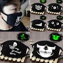 Black Cartoon Face Mask Funny Teeth Punk Luminous Ghost Skull Anti Dust Winter Cubre Bocas Hombre