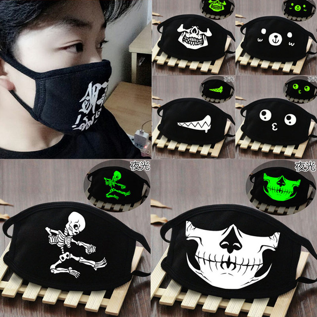 Black Cartoon Face Mask Funny Teeth Punk Luminous Ghost Skull Anti- Dust Winter Cubre Bocas Hombre Cotton Mouth Mask