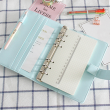 Cute A5/A6 Binder Leather Loose Leaf 6 Ring Spiral Notebook Cover Macaron Color Kawaii Stationery Planner Replacement Cover