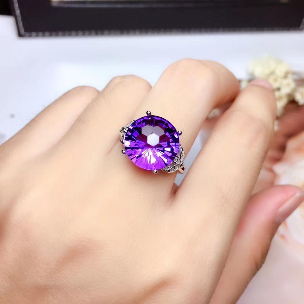 Fireworks Flashing  Purple Amethyst  Gemstone Ring With Silver For Women Jewelry Good Cut Birthday Anniversary  Party Present