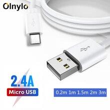 Olnylo mikro usb Kablosu Hızlı Şarj Cep Telefonu samsung için şarj kablosu Huawei HTC Android Tablet USB şarj aleti Veri Kabloları