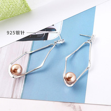 2019 Promotion New Arrival Copper Women Brinco Pendientes Euramerican Exaggerated Zircon Geometric Pearl Earrings S925 Needle