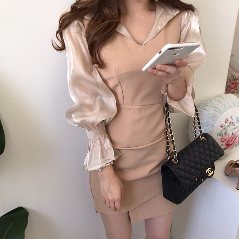 Sexy Lady Office Two Piece Set Outfits Long Sleeve Turn Down Collar Ruffle Trim Blouses And Bodycon Mini Dress Elegant Suit