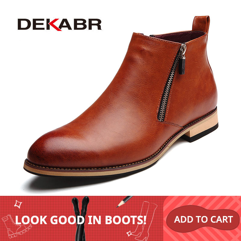 DEKABR 2019 Men Boots Comfortable Black Winter Warm Waterproof Fashion Ankle Boots Casual Men Pu Leather Snow Boots Winter Shoes