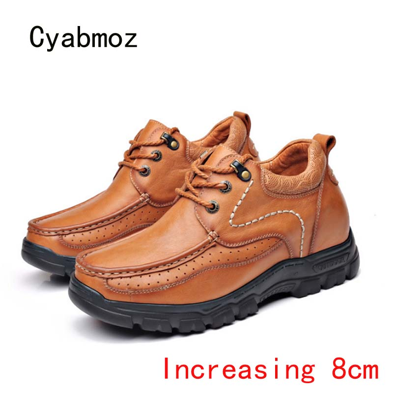 Cyabmoz mode en cuir véritable hommes chaussures hauteur augmentant invisiblement ascenseur chaussures 8cm à lacets en plein air homme travail chaussures décontractées