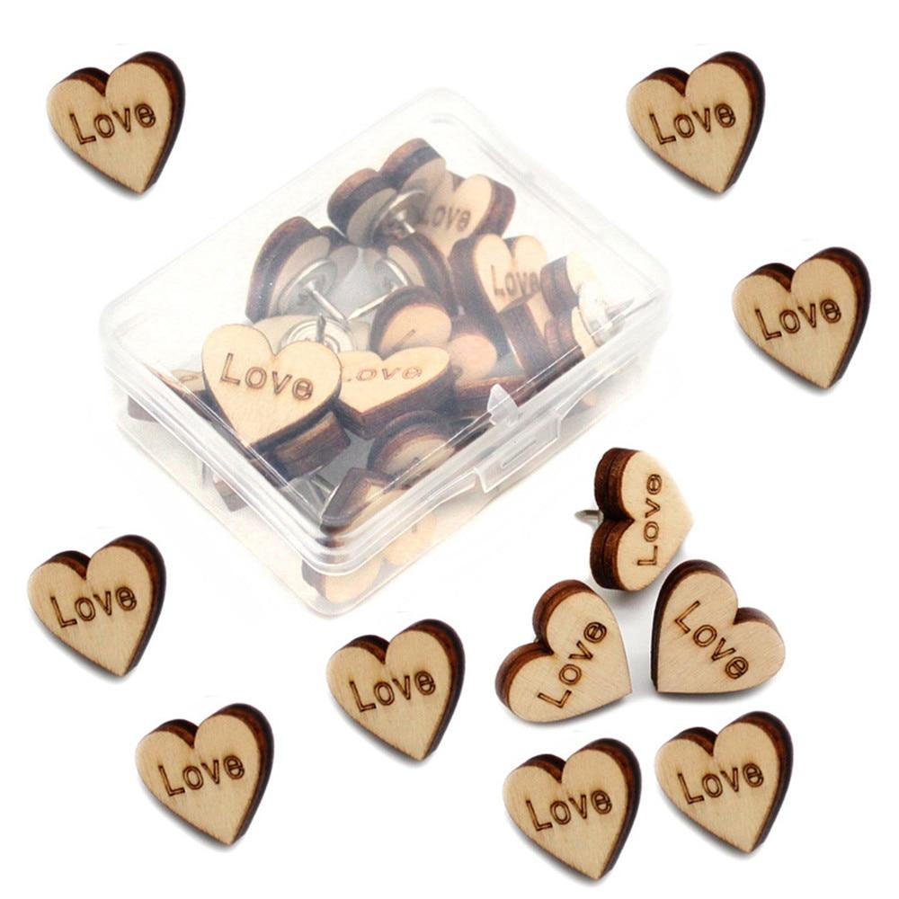 20Pcs/Box Map Thumbtacks Heart Shape Love Wood Push Pins DIY Thumb Tacks for Photos Cork Board