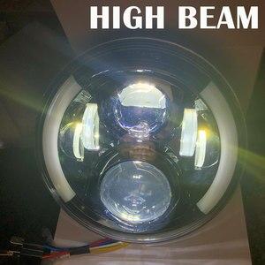 """Image 5 - 2 sztuk 7 Cal czołówki LED z efekt aureoli pomarańczowy kierunkowskaz dla lada niva 4x4 suzuki samurai 7 """"DRL Halo reflektory dla VAZ 2101"""