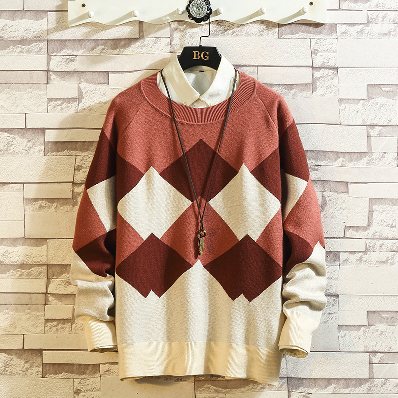 2019 UYUK Autumn/winter New Japanese Trend Men's Sweater Patchwork Lozenge Casual Temperament Pullover Clothes Hombre