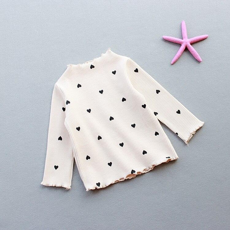 Удобная Осенняя футболка с сердечками для девочек 1-5 лет, модный Детский костюм, розовая одежда, топ для девочек, рубашка с длинными рукавами, одежда для крупных детей, 5 цветов - Цвет: beige
