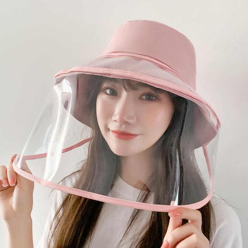 Women Bucket Hat Removable Protective Hat Face Shield Clear Visor Transparent Mask Anti Splash Summer Sun Hat Beach Travel Caps