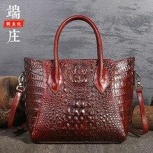 تصميم أصلي العلامة التجارية حقيبة المرأة 2020 ريترو نمط جديد كامل الحبوب والجلود اليد حقيبة كبيرة نمط التمساح المرأة حقيبة جلدية