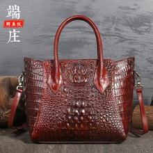 Ursprüngliche Design Marke FRAUEN Tasche 2020 Retro Neue Stil Voller korn Leder Hand Große Tasche Krokodil Muster FRAUEN Leder tasche