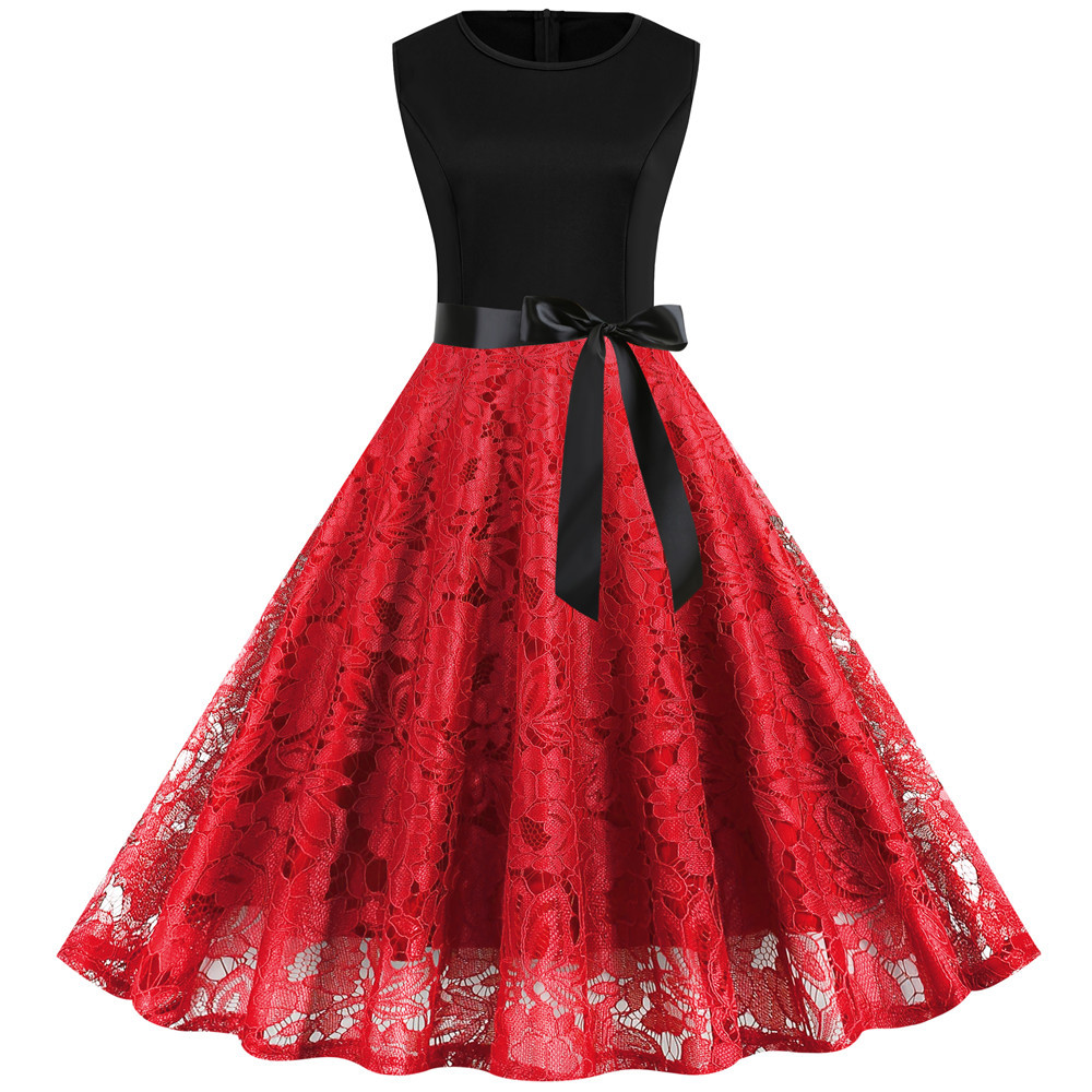 Knee-length Red Lace Dress Women Summer Sleeveless Office Clothing 50s 60s Retro Vintage Pinup Dress Big Swing Casual Vestidos