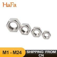 304 Aço inoxidável DIN934 Hexagon Hex Porca para M1 M1.2 M1.4 M1.6 M2 M2.5 M3 M3.5 M4 M5 M6 M8 M10 M12 M16 M18 M20 M24 Parafuso Parafuso