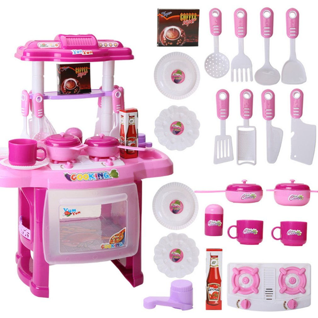 Girl Pretend Play Tableware Sets Toys Light Music Kitchen Cooking Simulation Miniature Kitchen Toys For Children Xmax Gifts