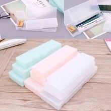 Pen-Box Pencil-Case Transparent Plastic Gift School-Supplies Office Kids Materials-Style