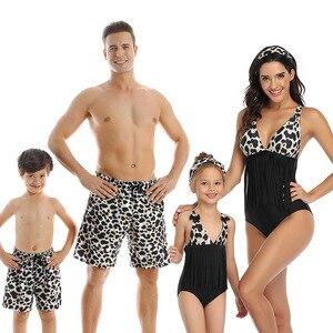 Matching Family Father Mother Son Daughter Bikini Swimsuit For Children Kids Beach Short Swimwear Women Bathing Suit bodysuit(China)