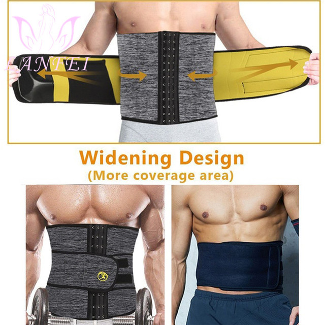 LANFEI Men Waist Trainer Cincher Sweat Belt Neoprene Body Shaper Slimming Tummy Control Corset Weight Loss Workout Fitness Strap 2