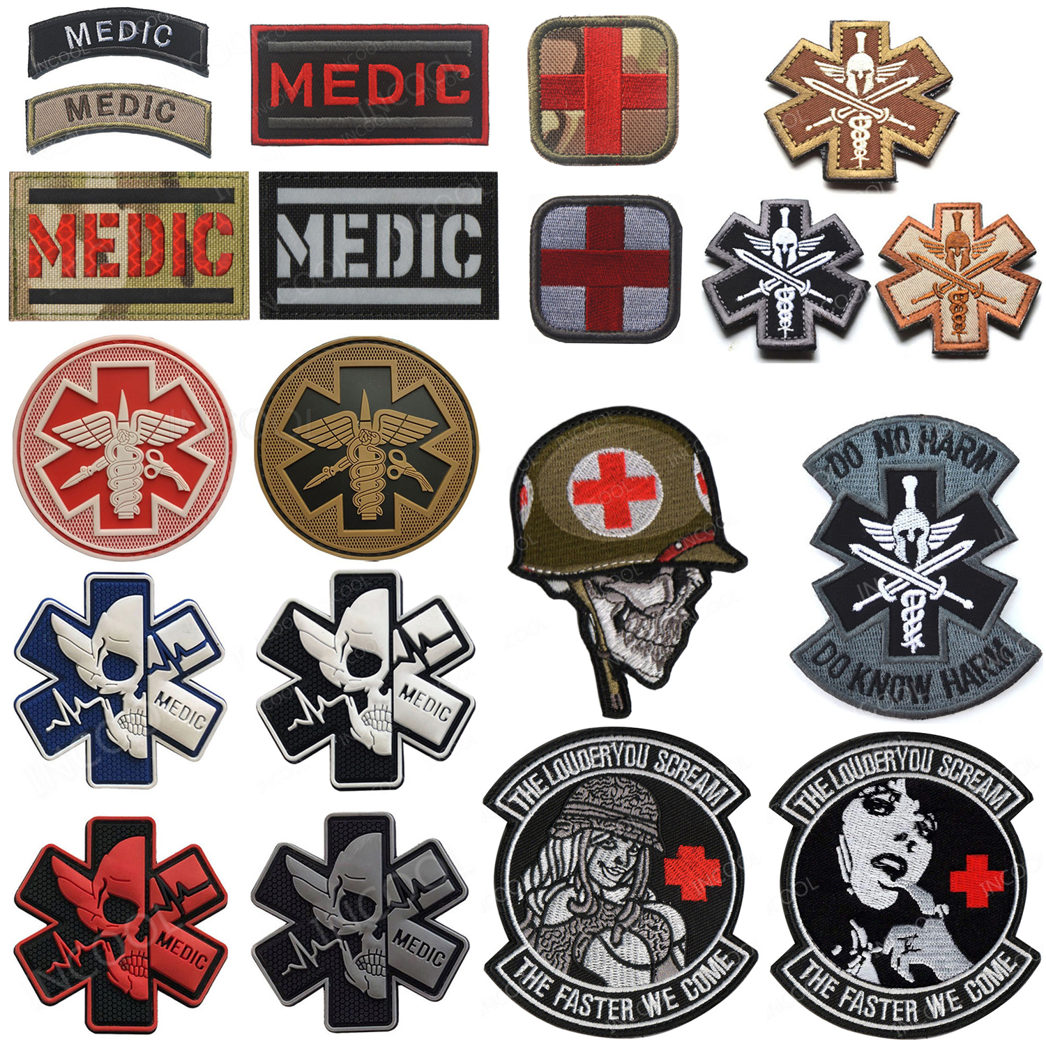 Embroidered Patches MEDIC Skull Tactical Military Patches PARAMEDIC Decorative Reflective Medical Cross Embroidery Badges