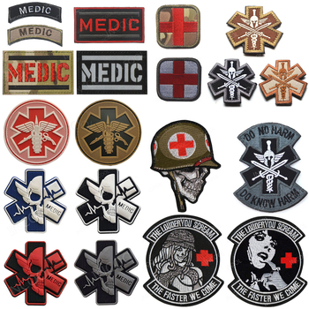 Embroidered Patches MEDIC Skull Tactical Military Patches PARAMEDIC Decorative Reflective Medical Cross Embroidery Badges embroidered patches medic skull tactical military patches paramedic decorative reflective medical cross embroidery badges